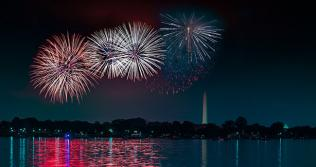 Picture of fireworks over the national monuments