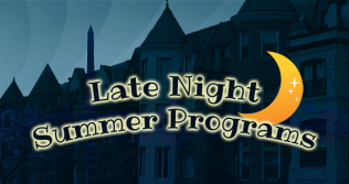 Late Night Summer Programs with cityscape