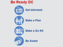 Be Ready DC: Get Involved; Make a Plan, Make a Go Kit; and Be Aware