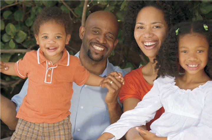 Photo of an African-American family of four